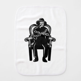 Man Gagged Chained to Grand Arm Chair Woodcut Burp Cloth