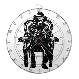 Man Gagged Chained to Grand Arm Chair Woodcut Dartboard