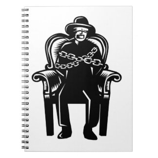 Man Gagged Chained to Grand Arm Chair Woodcut Notebooks