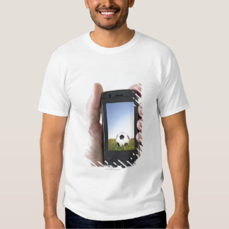 Man holding a mobile phone t-shirt