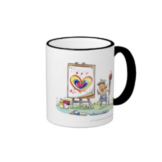 Man holding a paintbrush and standing by an easel coffee mug