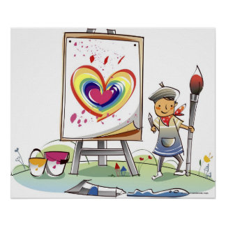 Man holding a paintbrush and standing by an easel poster