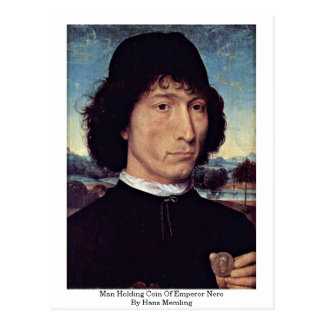 Man Holding Coin Of Emperor Nero By Hans Memling Postcards