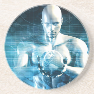 Man Holding Globe with Technology Industry Coaster