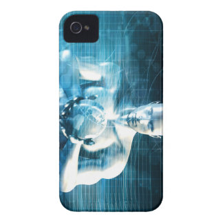 Man Holding Globe with Technology Industry iPhone 4 Case-Mate Cases