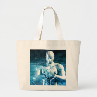 Man Holding Globe with Technology Industry Large Tote Bag