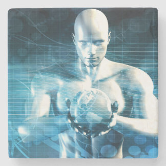 Man Holding Globe with Technology Industry Stone Coaster