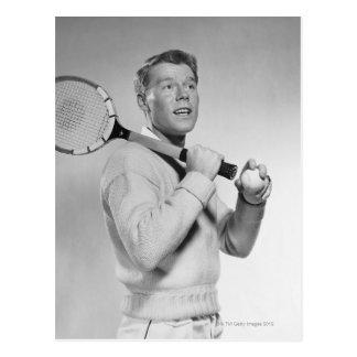 Man Holding Tennis Racket Postcard