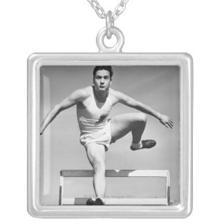 Man Hurdling Silver Plated Necklace