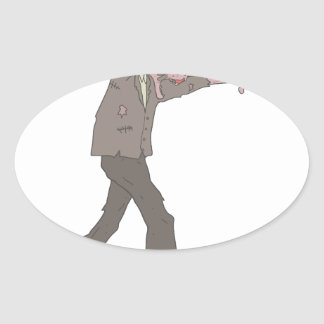 Man In A Suit Creepy Zombie With Rotting Flesh Out Oval Sticker