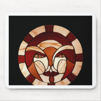 Man in the Moon Stained Glass Black Night Mousepad