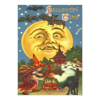 Man In The Moon Witch Black Cat Bat Stars Card