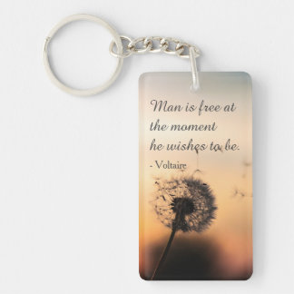 Man is Free Voltaire Quote Key Ring