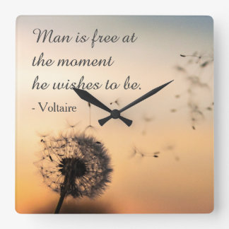 Man is Free Voltaire Quote Square Wall Clock