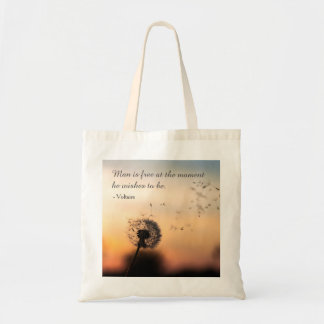 Man is Free Voltaire Quote Tote Bag