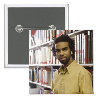 Man listening to music with headphones in 15 cm square badge