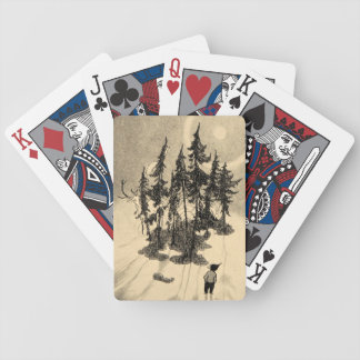 Man Looking at Trees with Buck, Squirrel, Rabbit Poker Deck