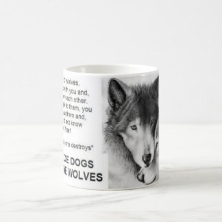 man made dogs god made wolves classic white coffee mug