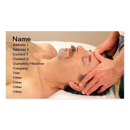 Man Massaging Male Face Business Card Template