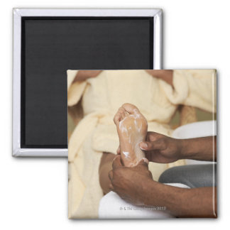Man Massaging Woman's Foot Square Magnet