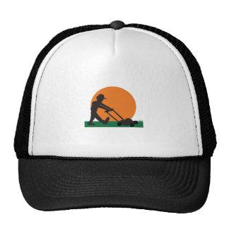 MAN MOWING LAWN CAP