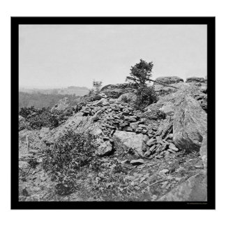 Man near the Gettysburg, PA Breastworks 1863 Poster