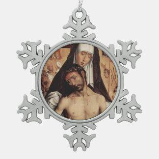 Man of Sorrow Snowflake Pewter Christmas Ornament