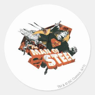 Man of Steel Collage Round Sticker