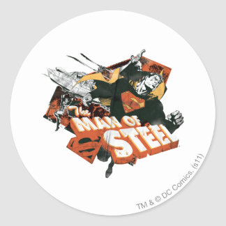 Man of Steel Collage Classic Round Sticker