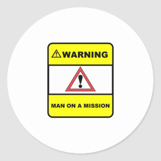 Man on a mission classic round sticker