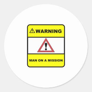 Man on a mission round sticker