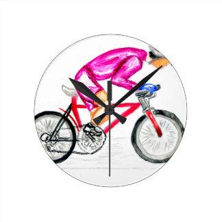 Man on Bicycle Sketch Round Clock