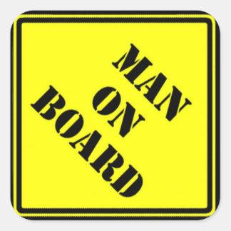 Man on Board Square Sticker