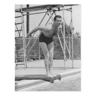 Man on Diving Board Postcard