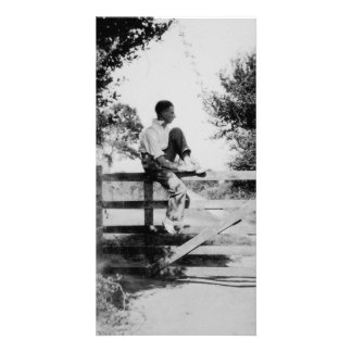 Man On Gate Old Black & White Image Photocard Photo Card Template