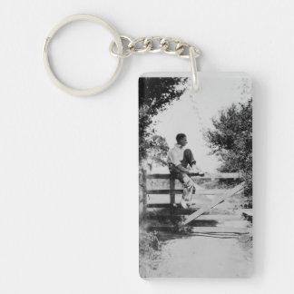 Man On Gate Old Image Acrylic Rectangle Keychain