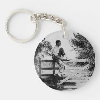 Man On Gate Old Image Acrylic Round Keychain
