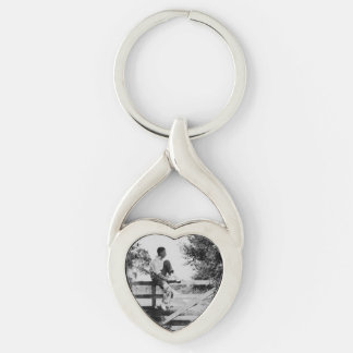Man On Gate Old Image Metal Twisted Heart Keychain Silver-Colored Twisted Heart Key Ring