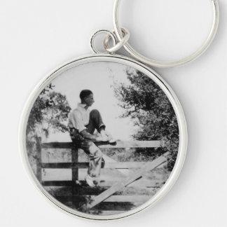 Man On Gate Old Image Premium Large Keychain