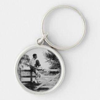 Man On Gate Old Image Premium Round Keyring Silver-Colored Round Key Ring