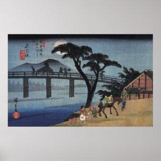 Man on horseback crossing a bridge poster