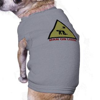 Man on leash sleeveless dog shirt