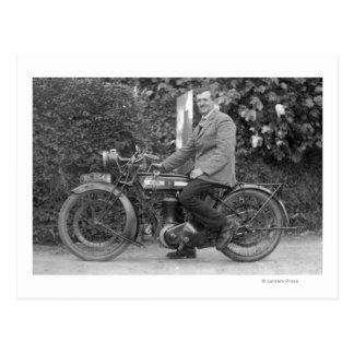 Man on Old B.S.A. Motorbike Postcard
