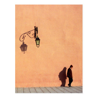 Man Passes by City Walls of Marrakech, Morocco Postcard