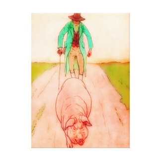 MAN & PIG STRETCHED CANVAS PRINT