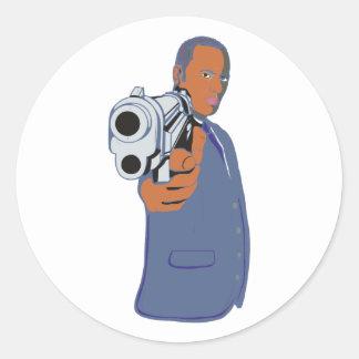 Man pistol one pistol classic round sticker