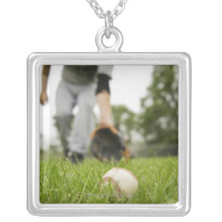 Man playing baseball silver plated necklace