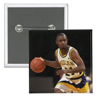 Man playing basketball 2 15 cm square badge