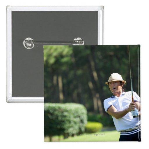 Man playing golf, Miyazaki Prefecture, Kyushu, Pinback Buttons