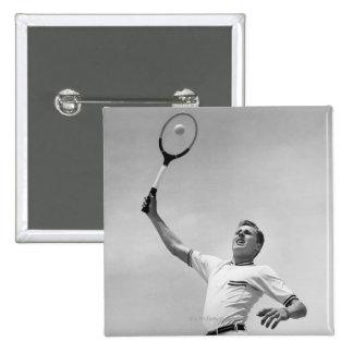 Man playing tennis 15 cm square badge